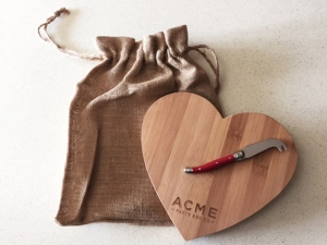 ACME Party Box Company Bamboo Heart Cutting Board & Cheese Knife - $32